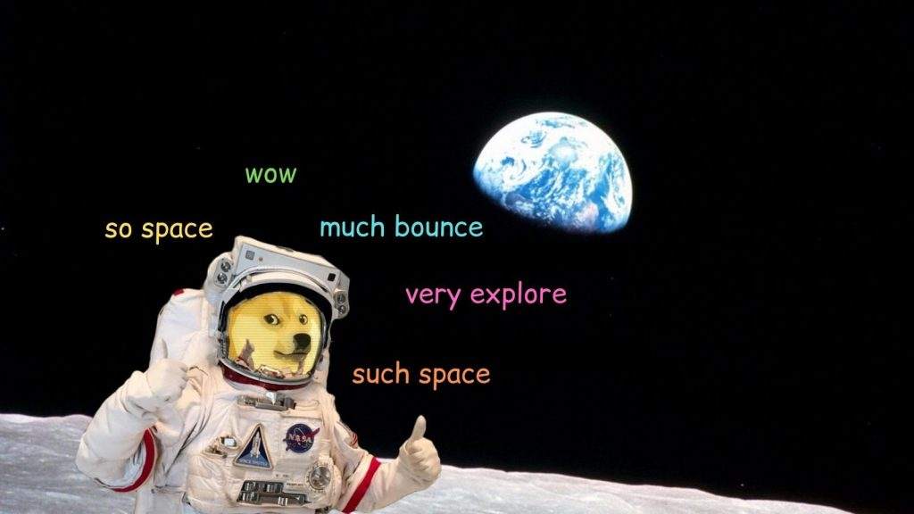 A meme of a dog on the moon with Earth in the background with the captions so space, wow, much bounce, very explore, such space