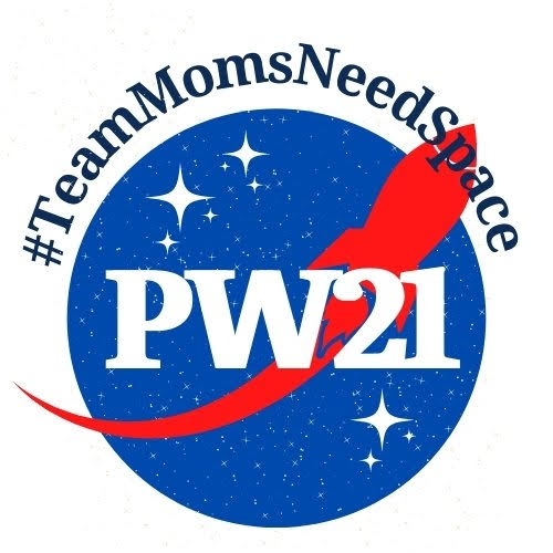 Our team logo, which resembles the NASA meatball, with the hashtag TeamMomsNeedSpace and PW21.